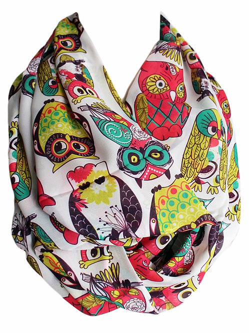 Colorful Owl Infinity Scarf Circle Tube Loop Scarf Bird Lovers Gift