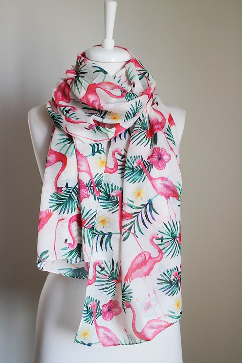 Flamingo Regular Cut Rectangle Soft Cotton Blend Scarf Gift For Her