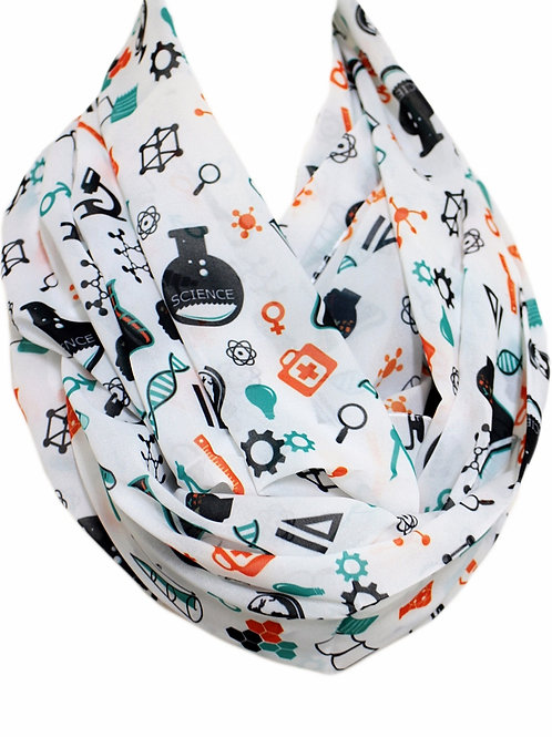 Science Infinity Scarf Atom DNA Print Chemistry Teacher Gift For Her