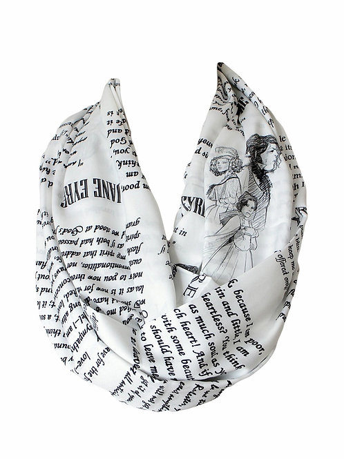 Charlotte Bronte Jane Eyre Book Infinity Scarf Book Literary Gift