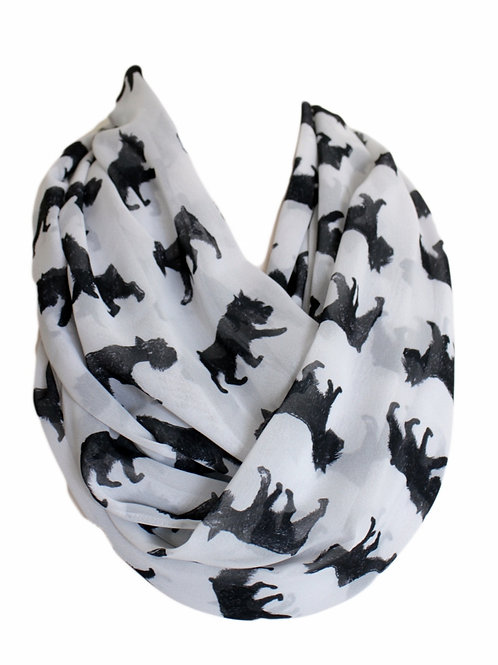 Black Terrier Dog Infinity Scarf Gift For Her Circle Tube Scarf