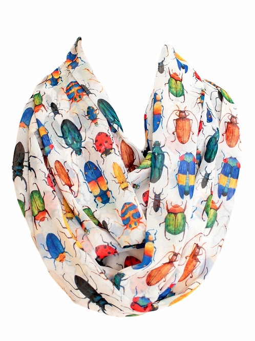 Colorful Bugs Infinity Scarf Insect Circle Loop Tube Scarf