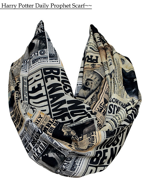 Harry Potter Newspaper Pattern Infinity Scarf Book Lover Gift for Her