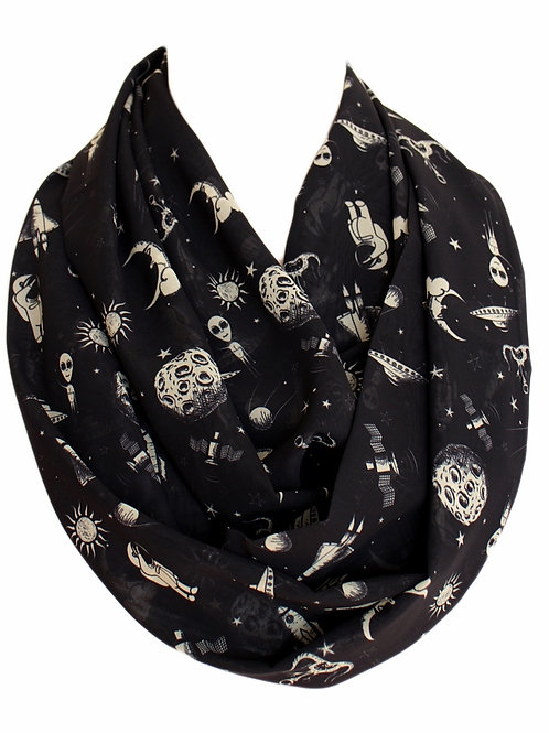 Alien Ufo Space Asteroids Infinity Scarf Gift For Woman Circle Scarf