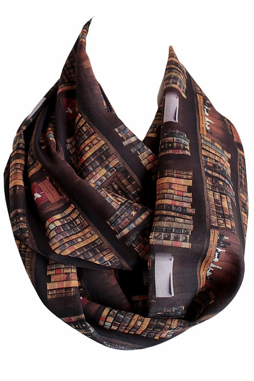 Brown Bookshelf Infinity Scarf Gift For Her Book Geek Librarian Teacher Fashion