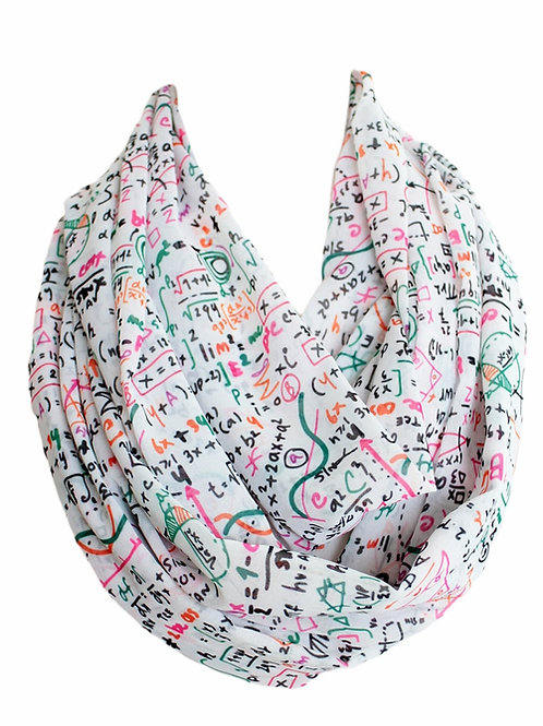 White Mathematics Formula Infinity Scarf Teacher Gift For Girlfriend Birthday