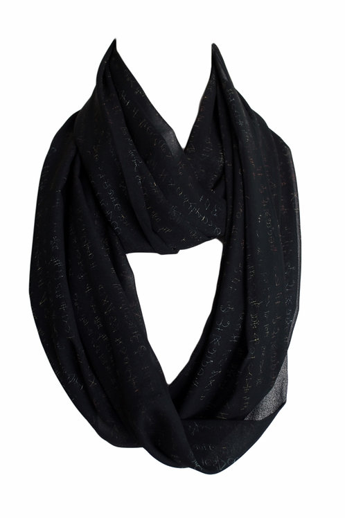 Black Symbols Infinity Scarf Gift For Her Circle Tube Scarf Accessories