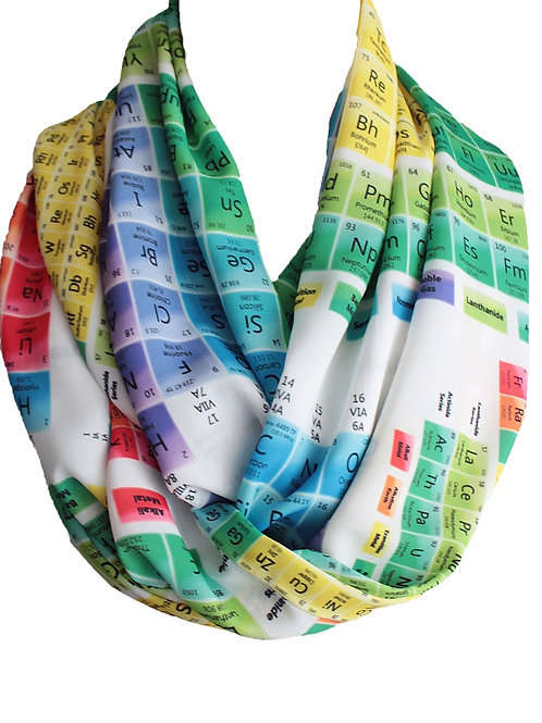 Colorful Chemistry Periodic Table Infinity Scarf Teacher Gift For Her