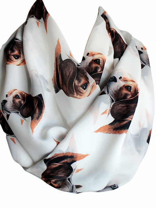 Beagle Dog Infinity Scarf Gift For Her Circle Tube Scarf Accessories