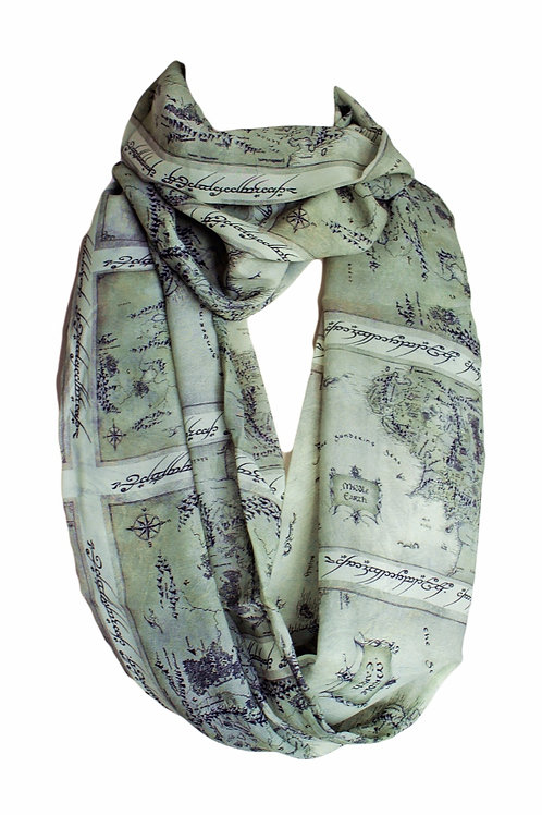 Gray Lord of the Ring LOTR Map Infinity Scarf Book Lover Gift for Her