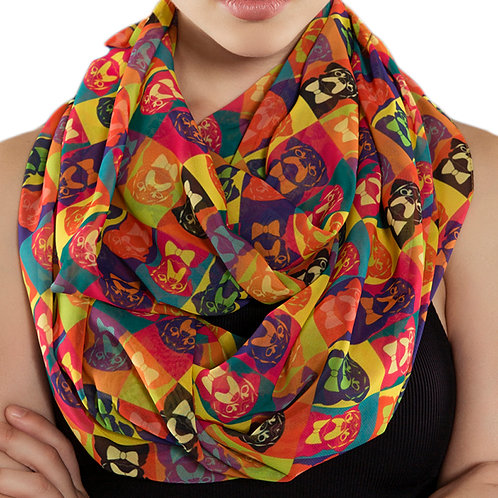 Colorful Pugs Infinity Scarf Gift For Her Circle Scarf Accessories