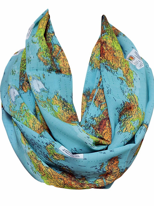 World Map Travel Infinity Scarf Gift For Her Circle Tube Scarf Accessories