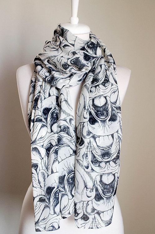 Bulldog Regular Cut Rectangle Soft Cotton Blend Scarf Gift For Her