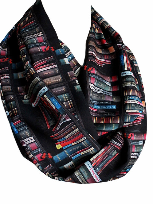 Black Bookshelf Infinity Scarf Gift For Her Book Geek Librarian Teacher
