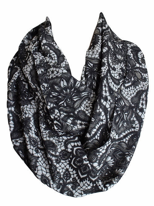 Lace Pattern Infinity Scarf Gift For Her Circle Tube Scarf Accessories