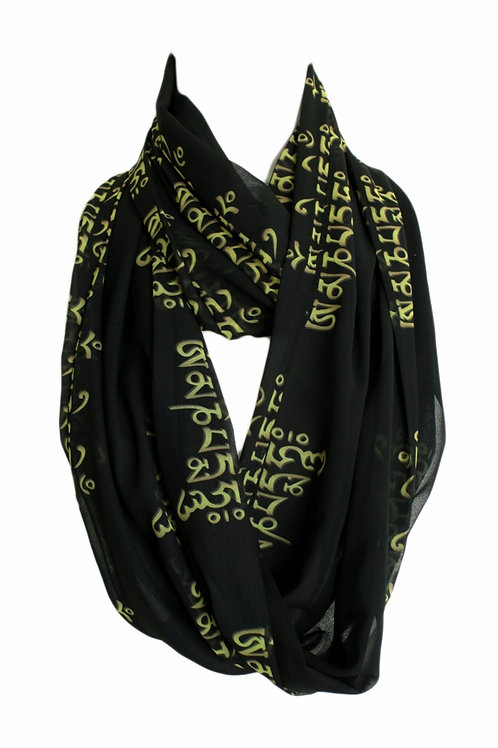 Spiritual Script  Infinity Scarf Gift For Her Circle Tube Scarf Accessories