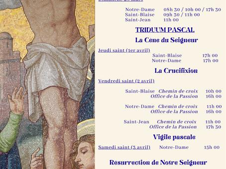 Horaires des célébrations  liturgiques de RAMEAUX