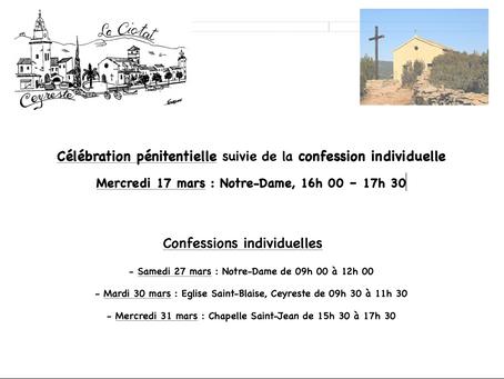Dates de la célébration pénitentielle et des confessions