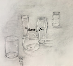 Study of shadow, and distance with different glass shapes