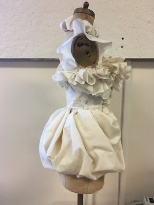 Poofy Bird Dress  - Draped for A Map of Virtue - Draped with muslin on 1/2 size form