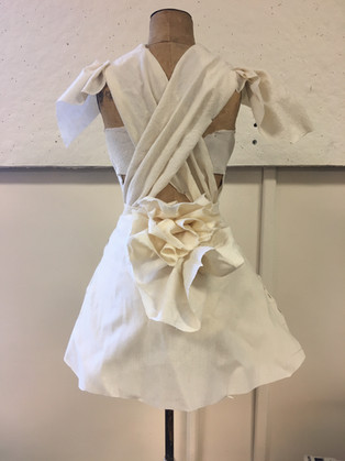 A-line dress with Ruffle Collar and Tail - Draped with muslin on 1/2 size form