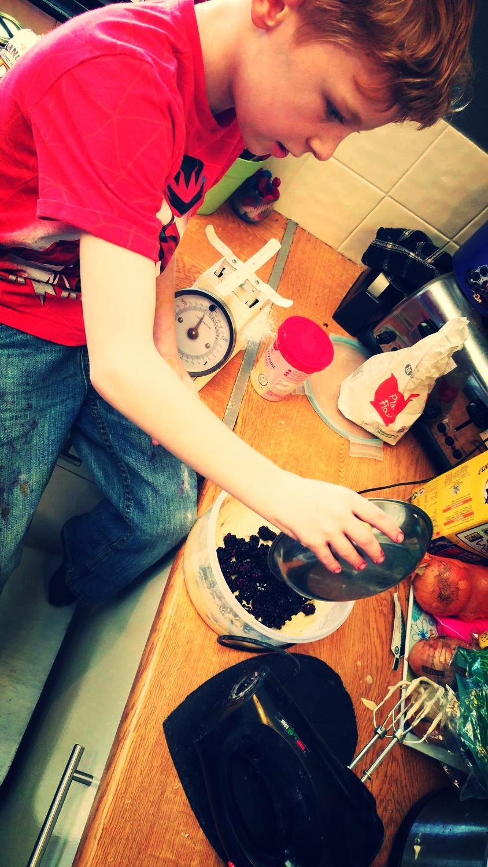 Baking blackberry muffins
