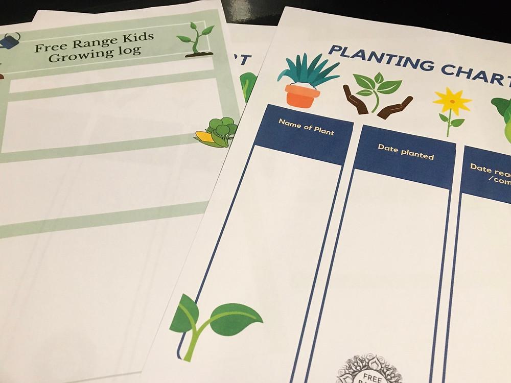 Free printable kids gardening log