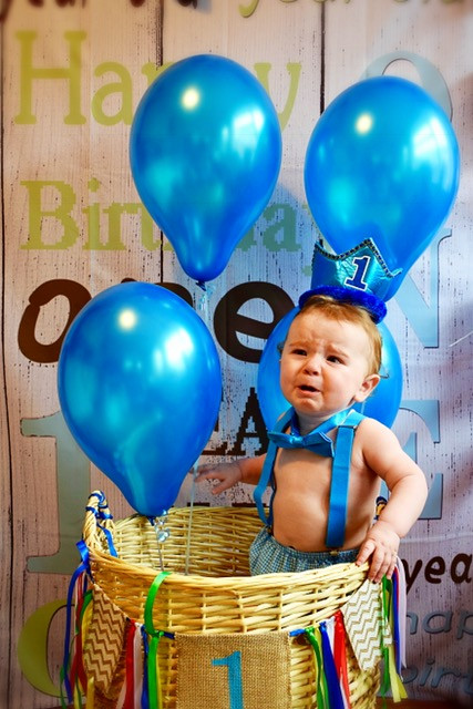 First birthday hot air balloon photo grumpy