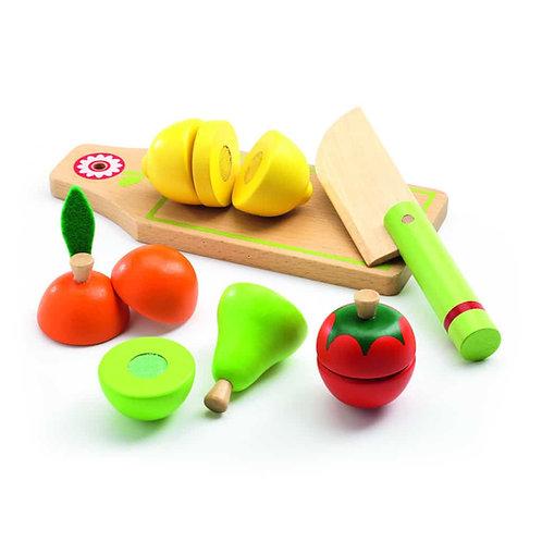 Planche à découper + fruits