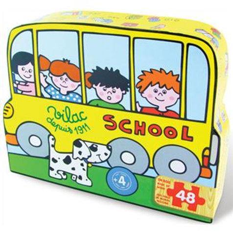Puzzle 48 pièces Ecole en boîte forme
