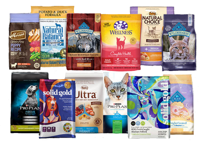 a variety of pet food