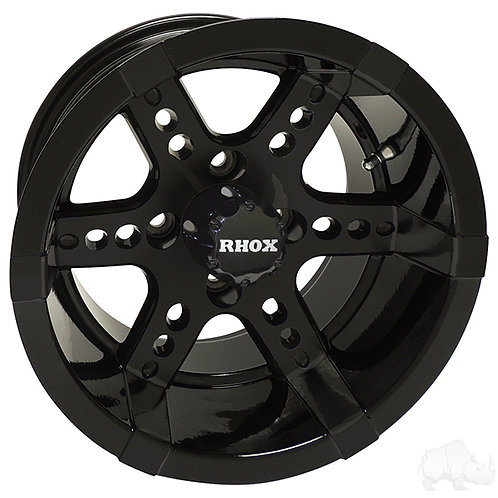 RHOX RX252, Black w/ Center Cap, 12x7 ET-25