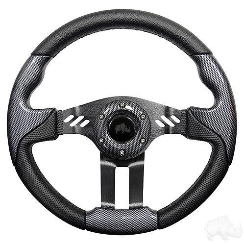 """RHOX Steering Wheel, Aviator 5 Carbon Fiber Grip/Black Spokes 13"""" Diameter"""