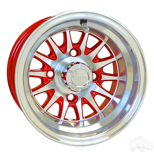 RHOX Phoenix, Machined w/ Red w/ Center Cap, 10x7 ET-15.5