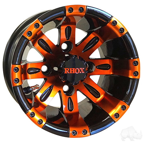 RHOX Vegas, Black w/ Orange w/ Center Cap, 10x7 ET-25