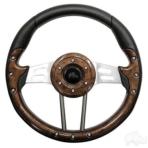 "RHOX Steering Wheel, Aviator 4 Woodgrain Grip/Brushed Aluminum Spokes 13"""