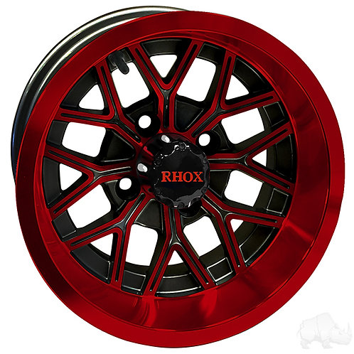 RHOX RX284, Gloss Black with Red, 12x6 ET-10