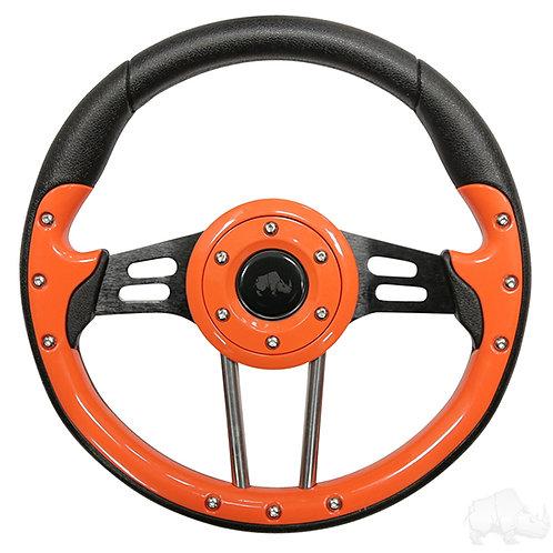 """RHOX Steering Wheel, Aviator 4 Orange Grip/Black Spokes 13"""" Diameter"""