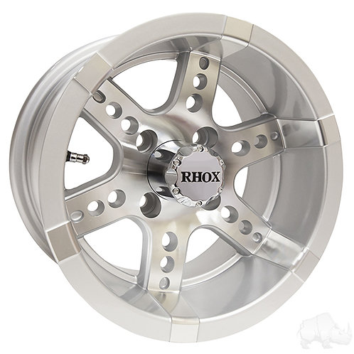 RHOX RX251, Machined w/ Silver W/ Center Cap, 12x7 ET-25