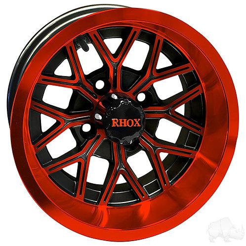 RHOX RX283, Gloss Black with Orange, 12x7 ET-25
