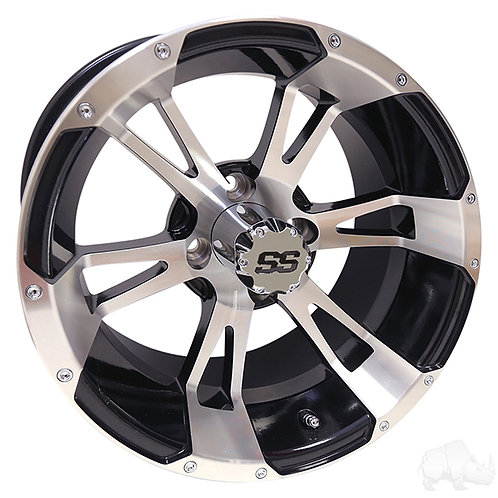 RHOX RX340, Machined w/ Black w/ Center Cap, 14x7 ET-25