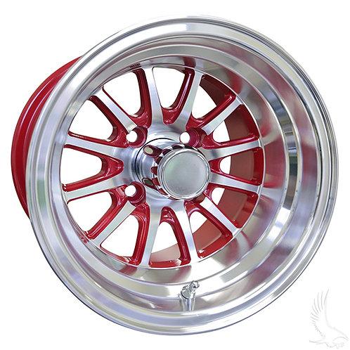 Phoenix, Machined w/ Red w/ Center Cap, 12x7 ET-25