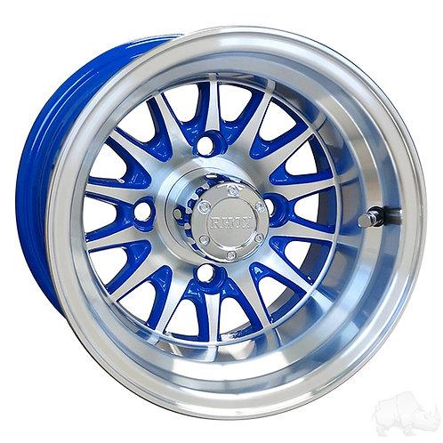 RHOX Phoenix, Machined w/ Blue w/ Center Cap, 10x7 ET-15.5