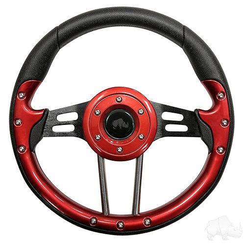 """RHOX Steering Wheel, Aviator 4 Red Grip/Black Spokes 13"""" Diameter"""