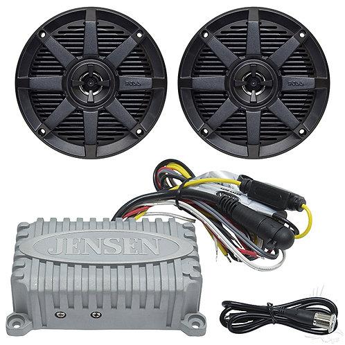 "Bluetooth Package, Jensen 2x80 Watt Marine Grade Amp and Boss 5.25"" Speakers"