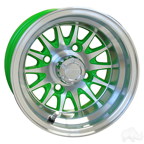 RHOX Phoenix, Machined w/ Green w/ Center Cap, 10x7 ET-15.5