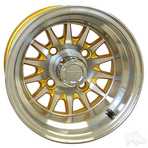 RHOX Phoenix, Machined w/Gold w/ Center Cap, 10x7 ET-15.5