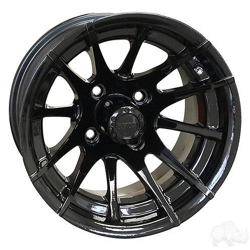 RHOX RX104, 12 Spoke, Black w/ Center Cap, 12x7 ET-25