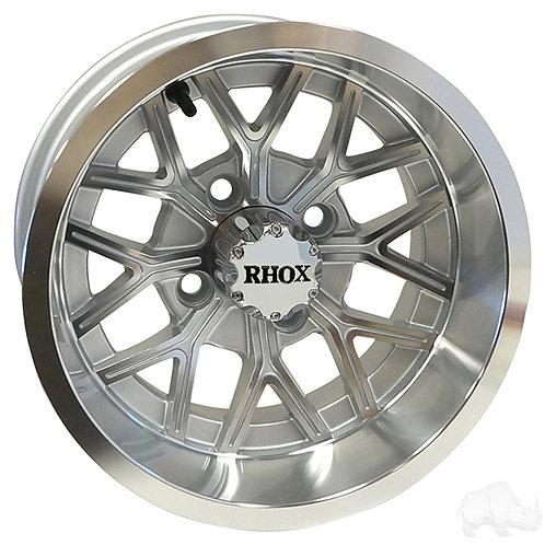 RHOX RX284, Machined Silver, 12x6 ET-10