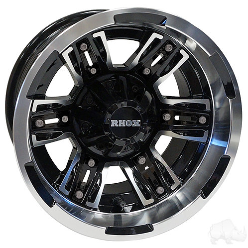 RHOX RX286, Machined Gloss Black, 12x7 ET-25